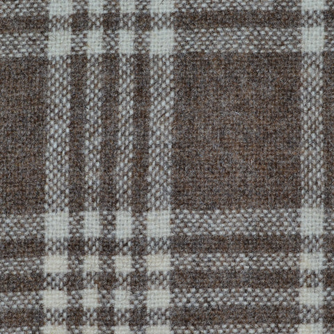 Beige & Brown Plaid Check Natural Undyed Tweed