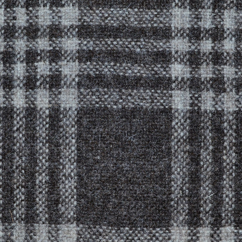 Grey/Brown Plaid Check Natural Undyed Tweed