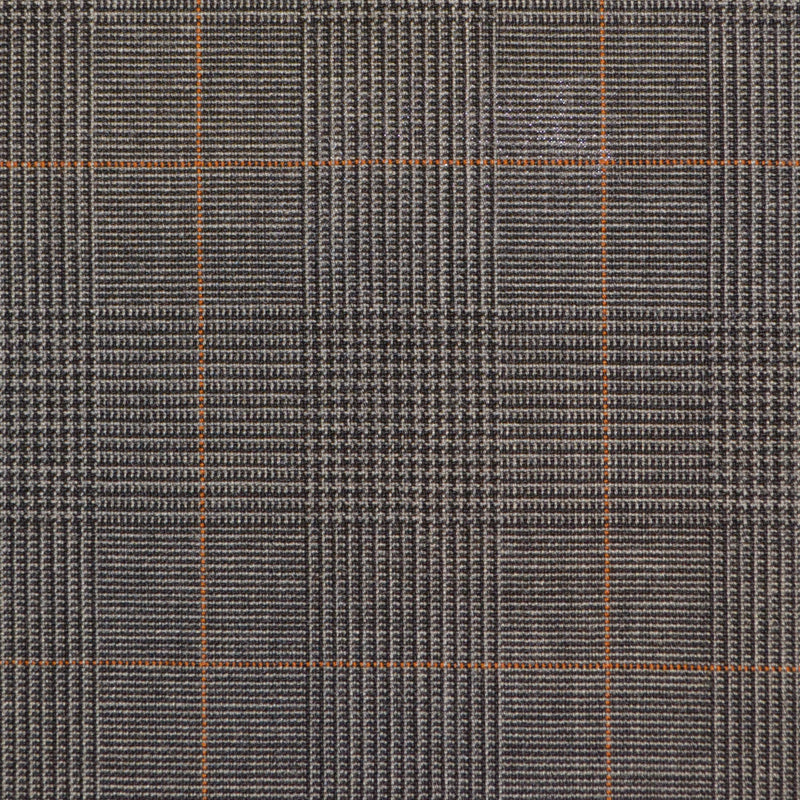 Dark Grey with Tan Prince of Wales Check Super 120's Suiting