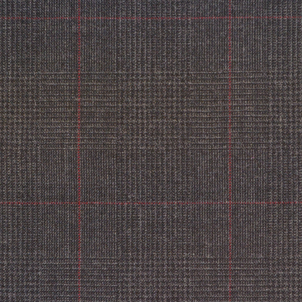 Dark Grey with Red Prince of Wales Check Super 120's Suiting