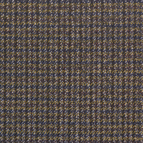 Brown & Navy Blue Dogtooth Check Twist Suiting