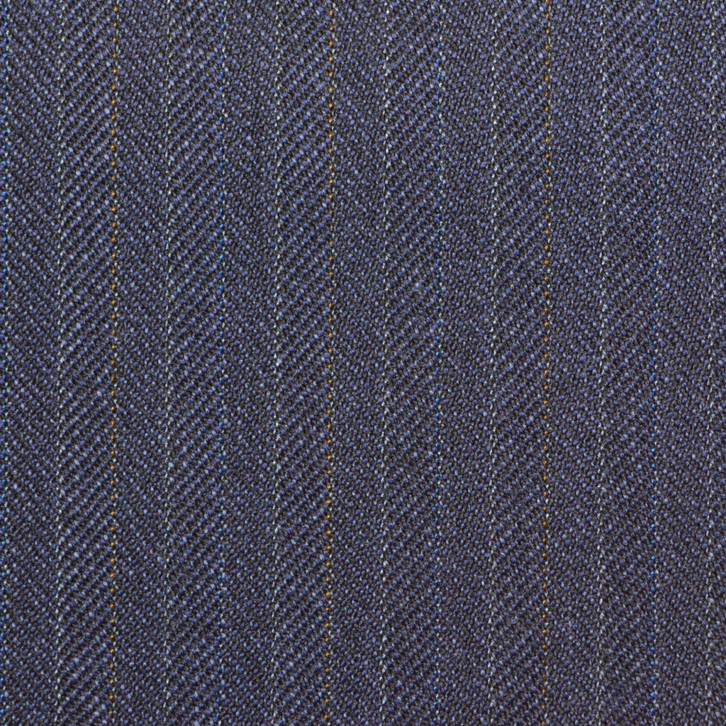 Navy Blue with Subtle Herringbone Stripe Twist Suiting