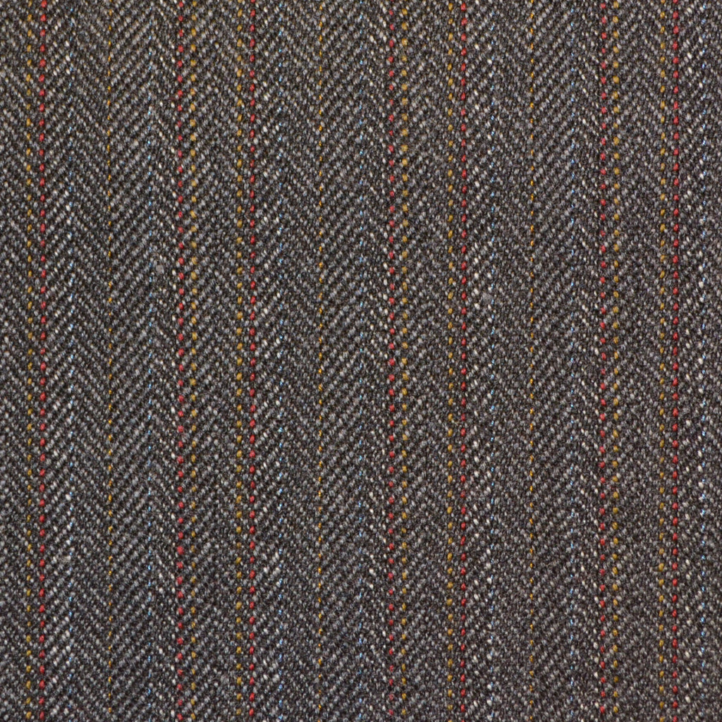 Grey with Brown & Red Herringbone Stripe Twist Suiting