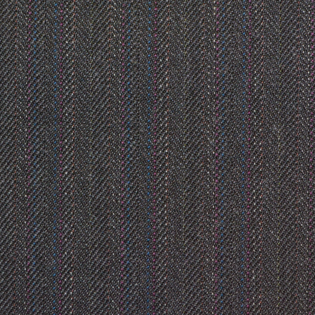 Dark Grey with Brown & Red Herringbone Stripe Twist Suiting