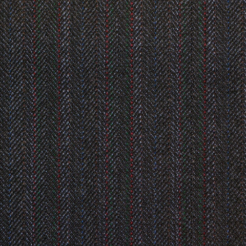 Grey/Blue with Red Herringbone Stripe Twist Suiting
