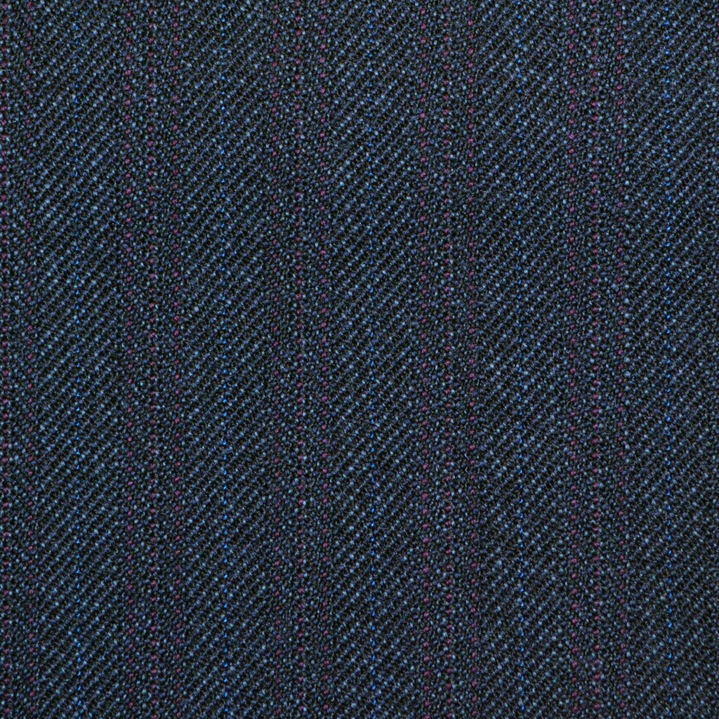 Dark Navy Blue with Burgandy Herringbone Stripe Twist Suiting