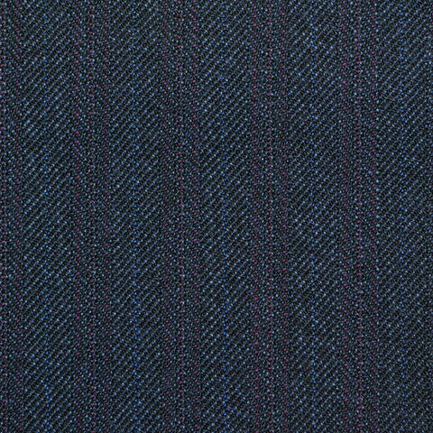 Dark Navy Blue with Burgundy Herringbone Stripe Twist Suiting