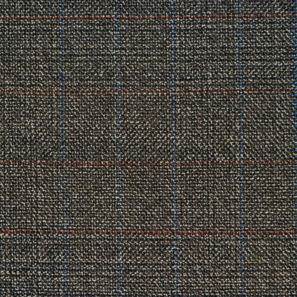 Grey Brown with Red & Blue Glen Check Twist Suiting