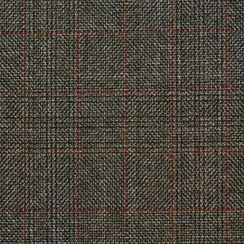 Brown with Red Glen Check Twist Suiting