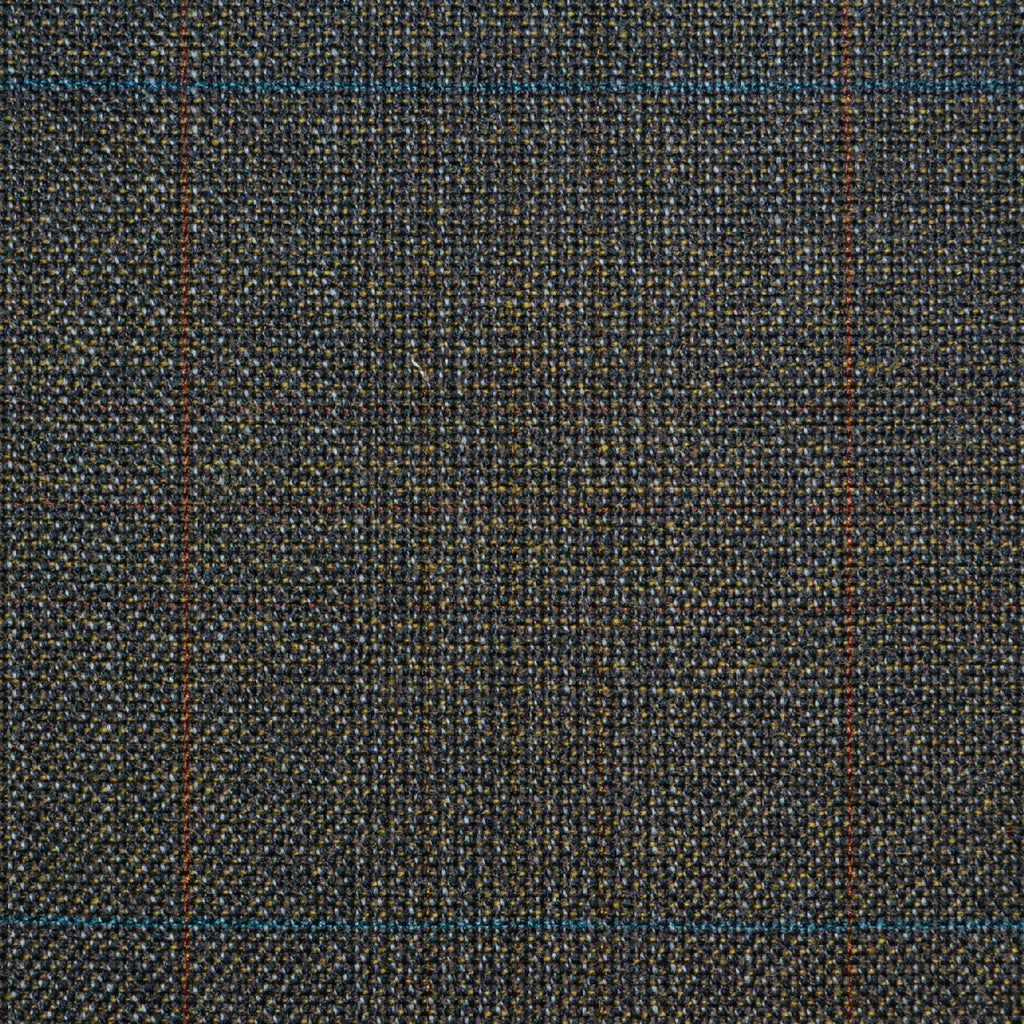 Brown with Red & Blue Glen Check Twist Suiting