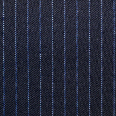 Bright Navy Blue with Blue Stripe Super 150's All Wool Suiting