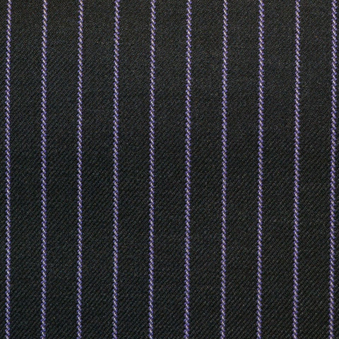 Dark Grey with Lilac Stripe Super 150's All Wool Suiting