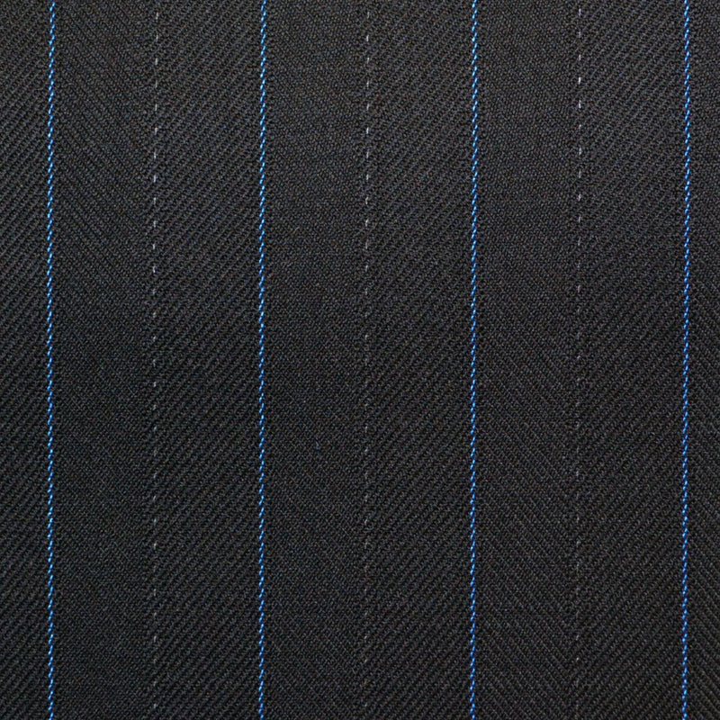 Navy Blue with Blue Pinstripe Super 150's All Wool Suiting