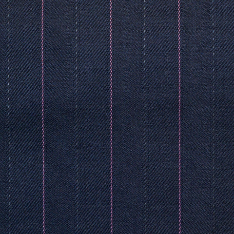 Bright Navy Blue with Pink Stripe Super 150's All Wool Suiting