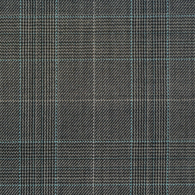 Grey with Blue Glen Check Super 150's All Wool Suiting