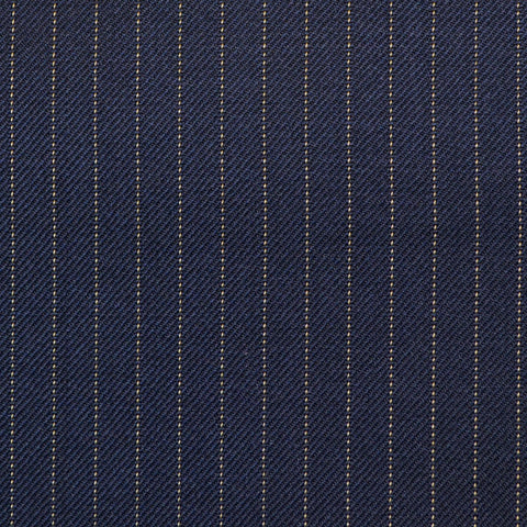 Navy Narrow Pinstripe Check Super 150's All Wool Suiting