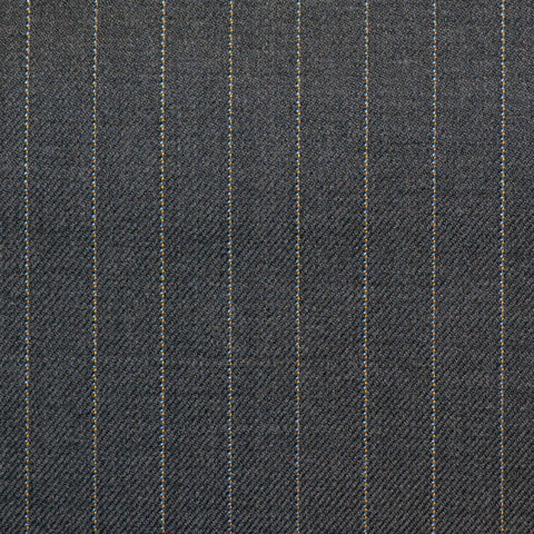 Grey Amber & Blue Pinstripe Check Super 150's All Wool Suiting