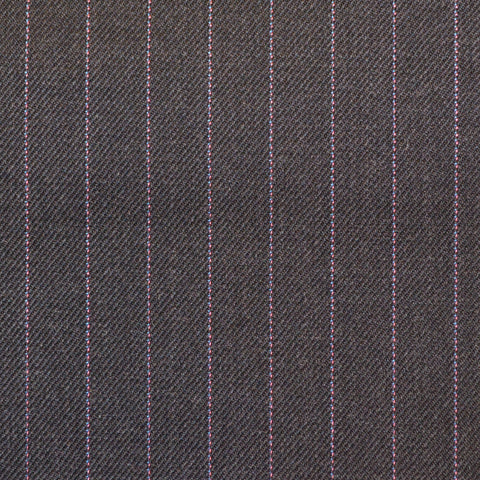 Dark Grey Pinstripe Check Super 150's All Wool Suiting