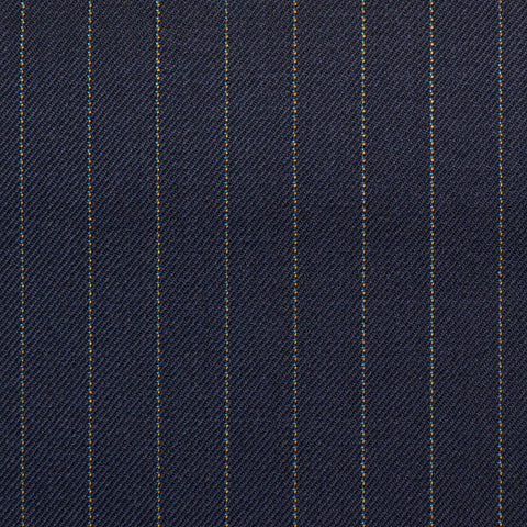 Navy Pinstripe Check Super 150's All Wool Suiting