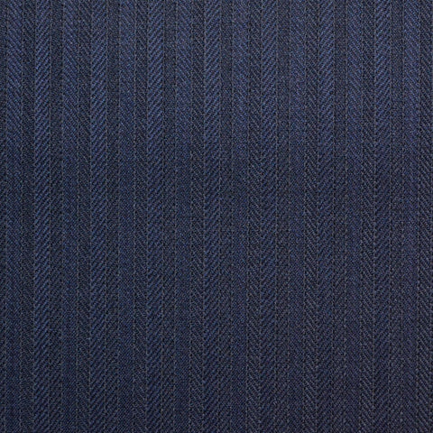 Dark Navy Narrow Herringbone Stripe Super 150's All Wool Suiting