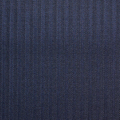 Navy Narrow Herringbone Stripe Super 150's All Wool Suiting