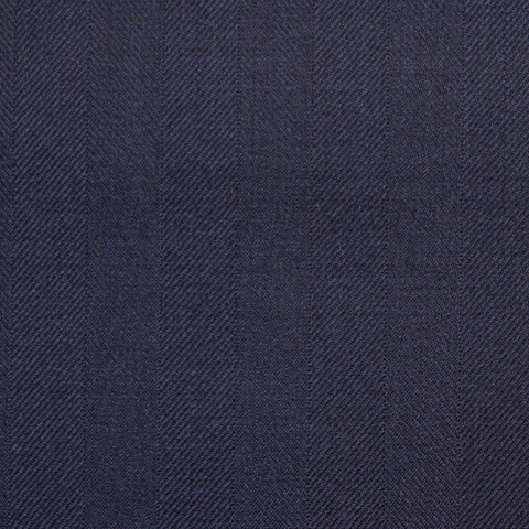 Navy Blue Wide Herringbone Super 150's All Wool Suiting