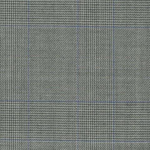 Light Grey with Blue Split Glen Check Super 140's All Wool Suiting By Holland & Sherry