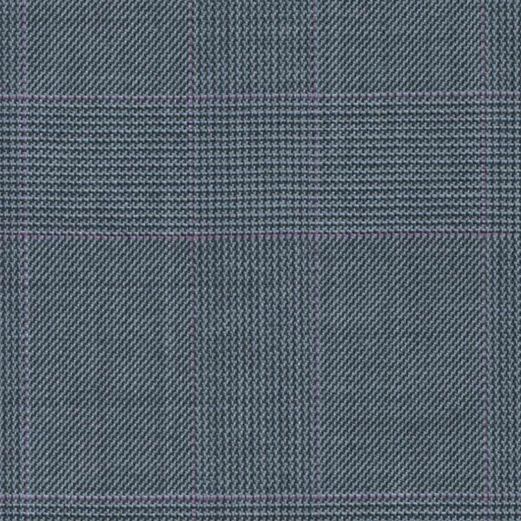 Light Blue with Magenta Split Glen Check Super 140's All Wool Suiting By Holland & Sherry