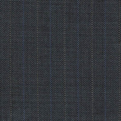 Medium Blue Pick and Pick Herringbone with Blue and Pearl Stripes Super 140's All Wool Suiting By Holland & Sherry