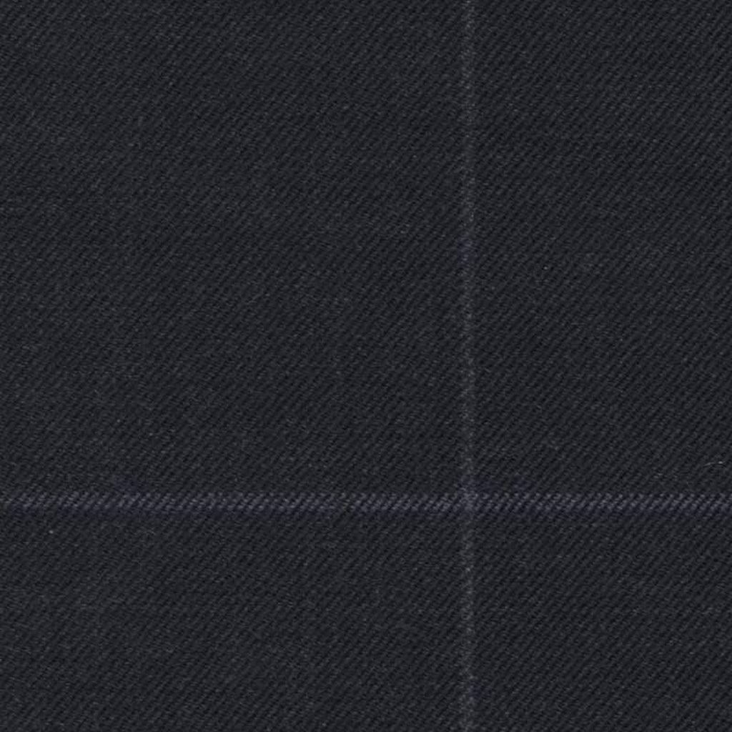 Navy Blue Soft Chalk Window Pane Check Super 140's All Wool Suiting By Holland & Sherry