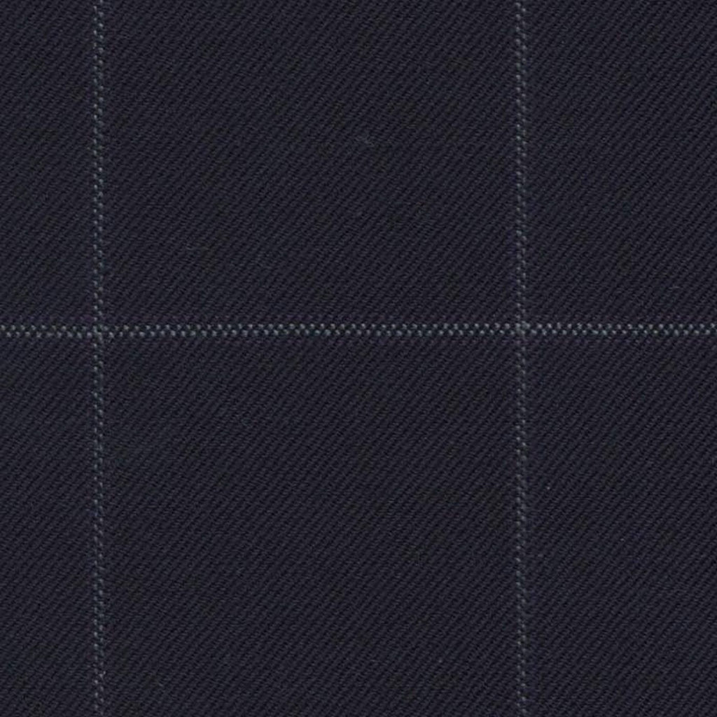 Navy Blue with Grey and Purple Tram Line Window Pane Check Super 140's All Wool Suiting By Holland & Sherry