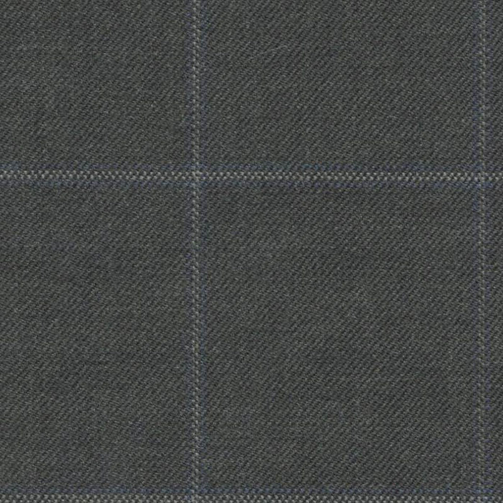 Medium Grey with Blue and Grey Tram Line Window Pane Check Super 140's All Wool Suiting By Holland & Sherry