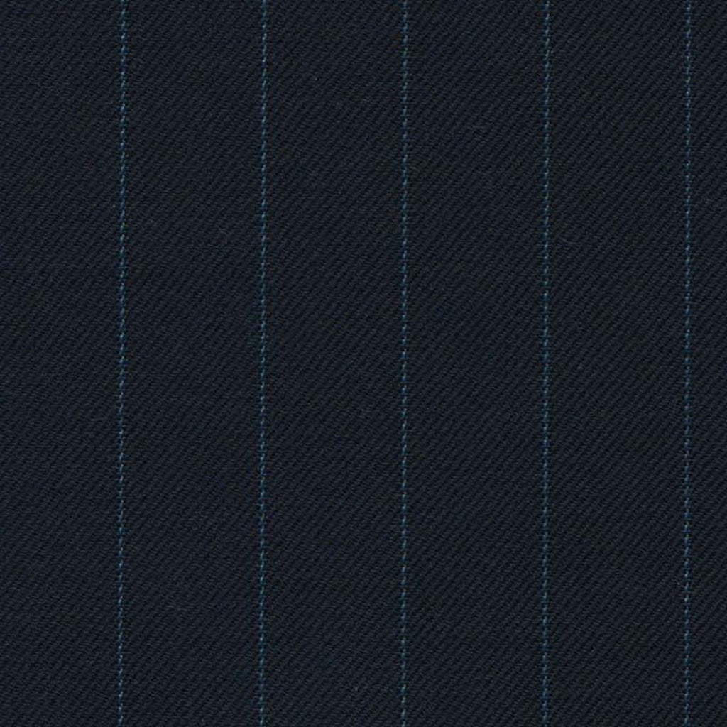Navy Blue with Light Blue Stripe Super 140's All Wool Suiting By Holland & Sherry