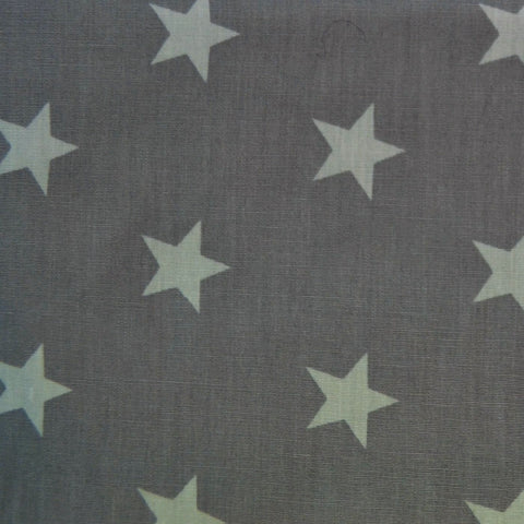 Medium Grey with White Stars Craft Poplin Cotton - Ideal for COVID19 Masks and Scrubs