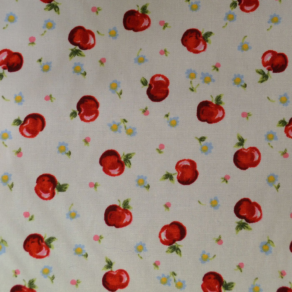 White with Red Apples and Small Flowers Craft Poplin Cotton - Ideal for COVID19 Masks and Scrubs