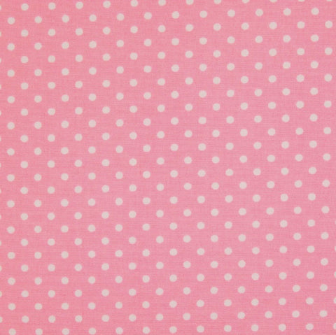 Pink with White Polka Dots Craft Poplin Cotton - Ideal for COVID19 Masks and Scrubs