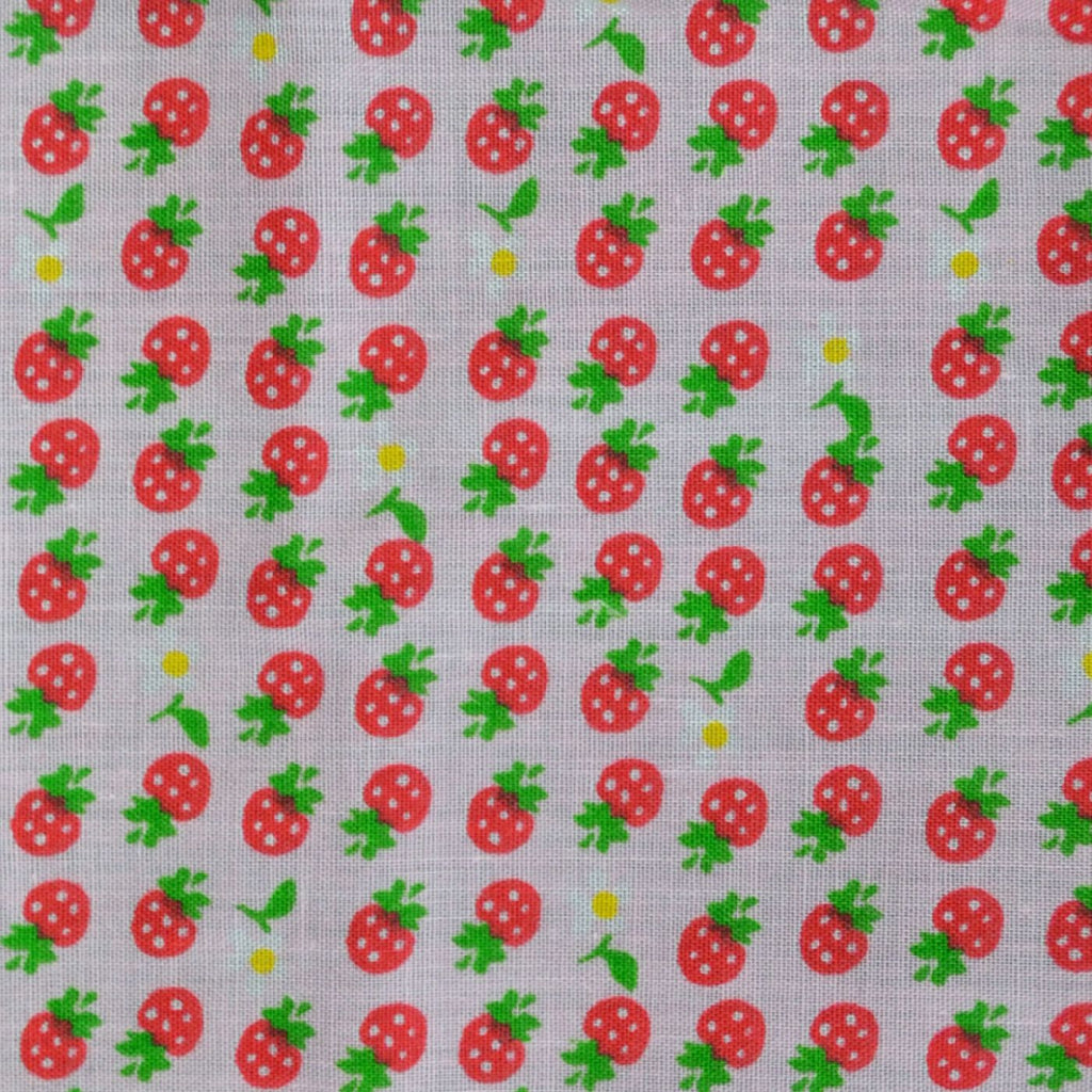 White with Strawberries and Small Flowers Craft Poly/Cotton - Ideal for COVID19 Masks and Scrubs