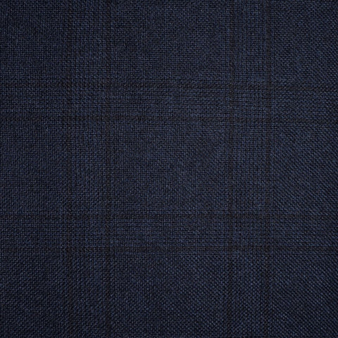 Navy Blue with Subtle Brown Glen Check All Wool Milled Suiting