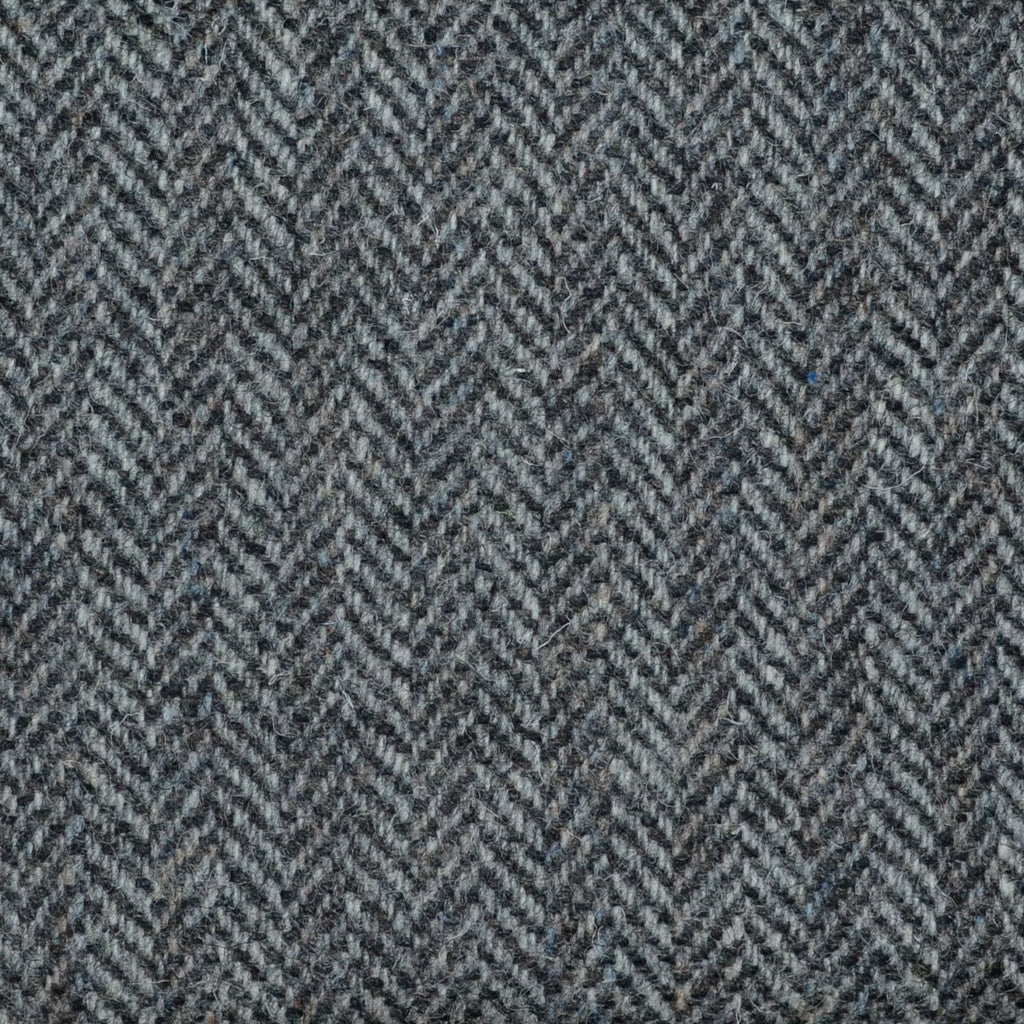 Silver and Dark Grey Herringbone Harris Tweed