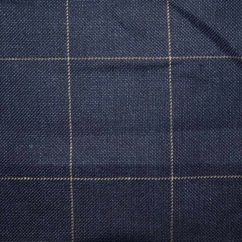 Navy Blue Pick and Pick with Tan Window Pane Check Wool & Linen - Sold Per Metre