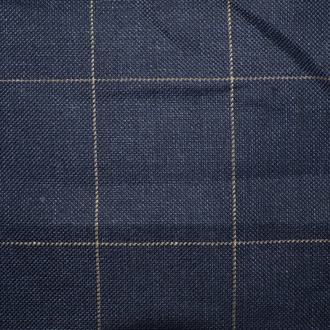 Navy Blue Pick and Pick with Tan Window Pane Check Wool & Linen