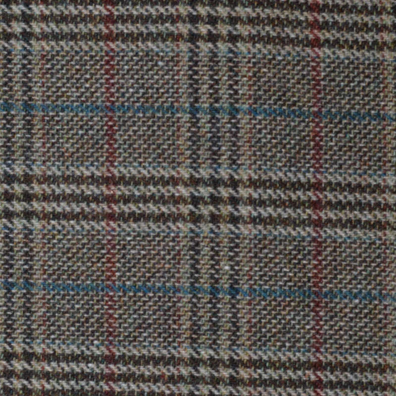 Brown with Blue & Red Plaid Check Tweed - Sold Per Metre
