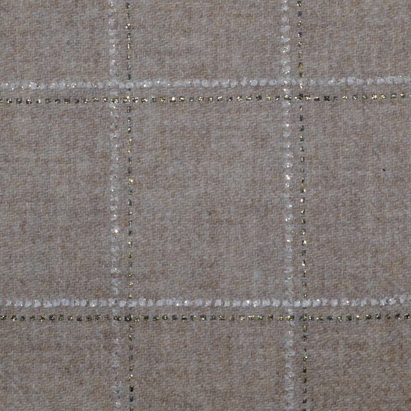 Oatmeal with White and Gold Check Tweed - Sold Per Metre
