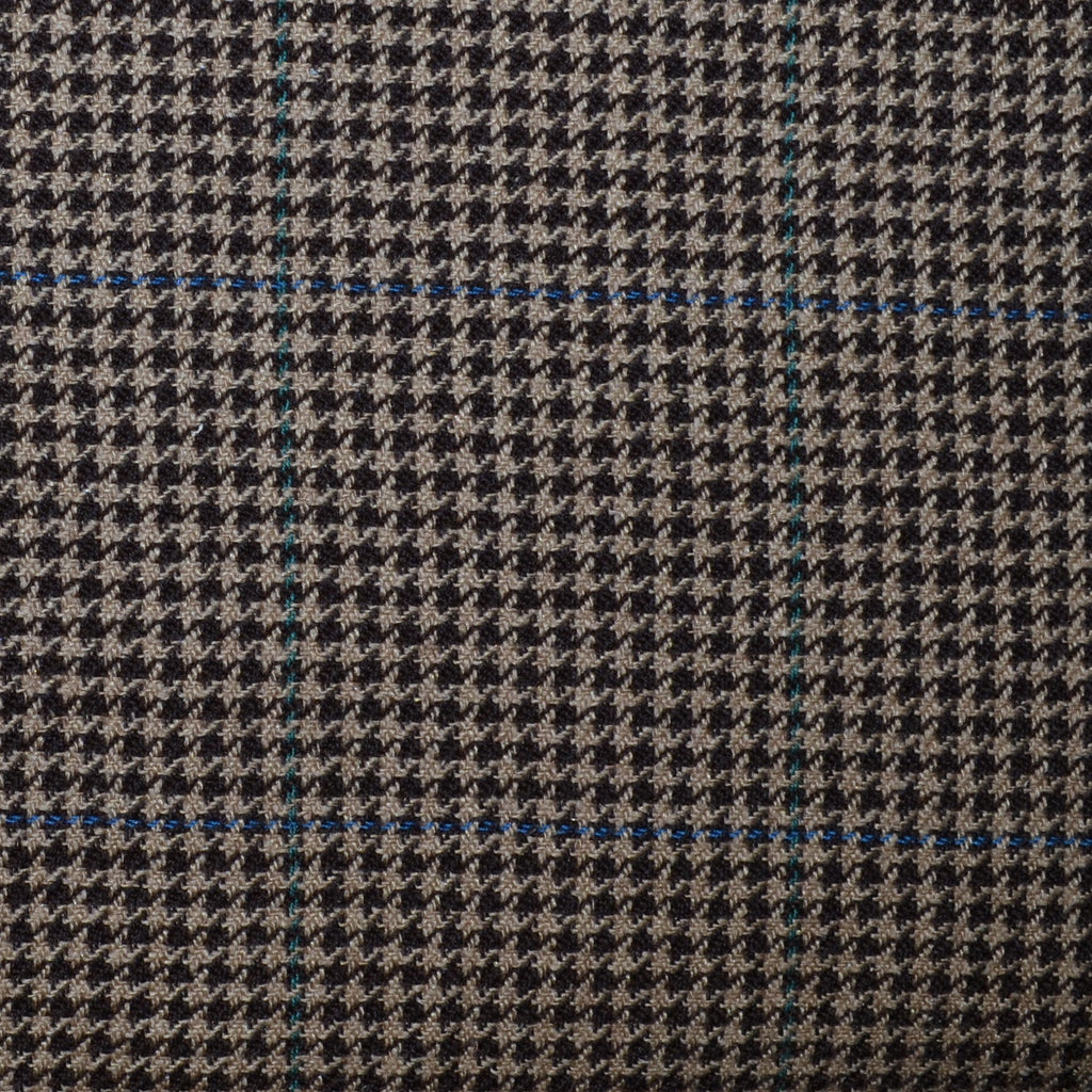 Light Brown and Dark Brown Dogtooth with Blue & Green Check Tweed - Sold Per Metre