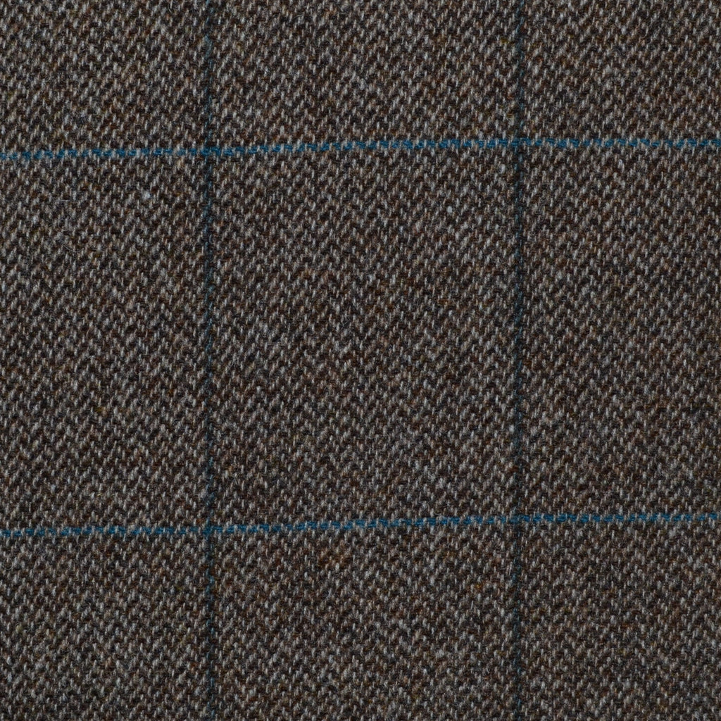 Medium Brown Herringbone with Blue & Green Check Tweed - Sold Per Metre
