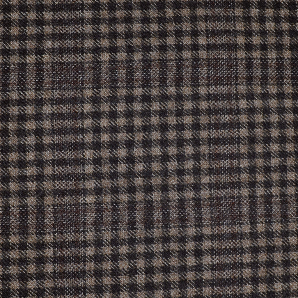 Medium Brown Small Check with Dark Brown Window Check Tweed - Sold Per Metre