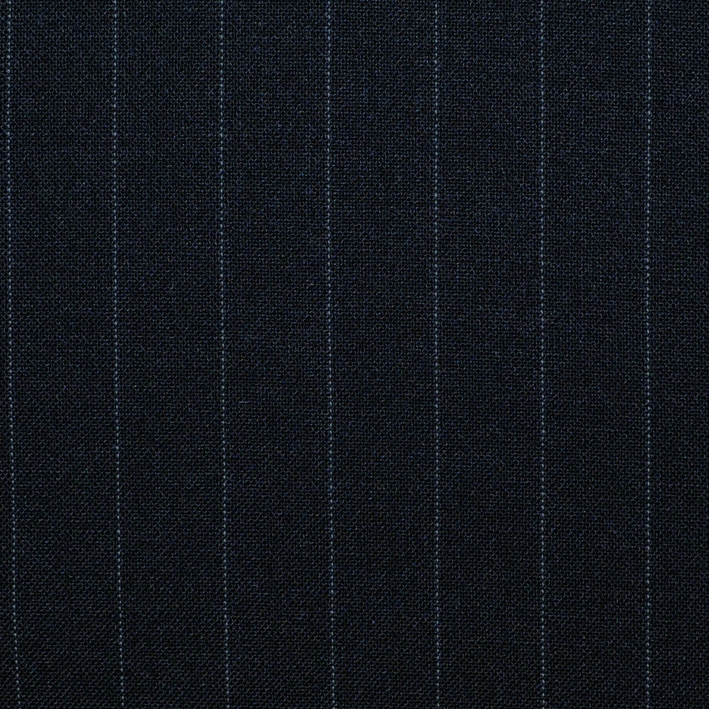 Black Pinstripe Poly/Wool/Lycra Suiting - Sold Per Metre