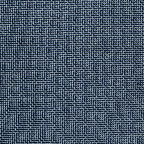 Denim Blue and Navy Blue Micro Check Wool, Cotton & Cashmere - 1.00 Metre