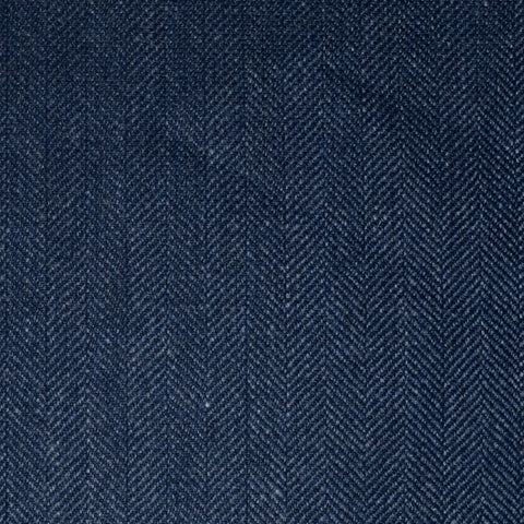 Navy Blue & Blue/Grey Herringbone Wool, Cotton & Cashmere - 1.00 Metre