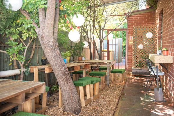Nagev Plant Based Cafe rear outdoor seating